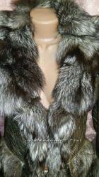 Эксклюзивная зимняя кожаная куртка золотой перламутр с чернобуркой и подар