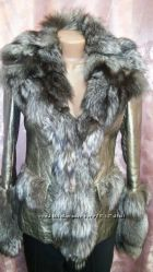 Эксклюзивная теплая кожаная куртка золотой перламутр с чернобуркой и подар