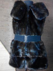 Меховый жилет  под норку коричневая