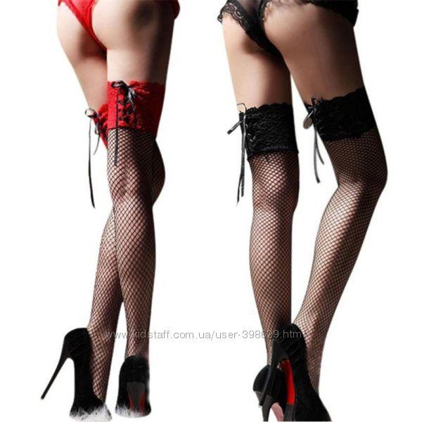 Чулки сеточкой на шнуровке