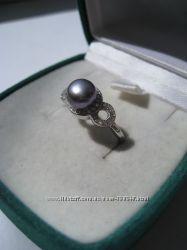 Срібне колечко з перлинкою