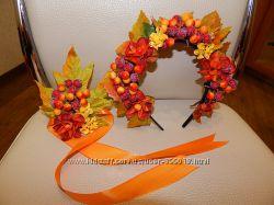 Осенние венки-ободки из листьев ручной работы