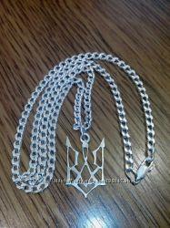 Серебряная цепь панцерная 51 см
