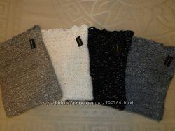 Превосходные, очень мягкие двойные шарфы-хомуты, труба Серый и черный