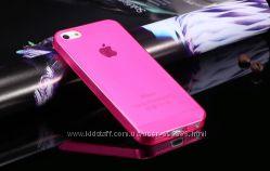 Чехол для iphone 5 силиконовый ультротонкий розовый прозрачный