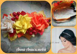 Повязка-афинка с розами в осеннем стиле