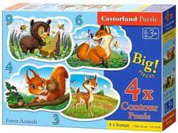 Castorland Puzzle 4в1 набор пазлов из 3, 4, 6 и 9 элементов Оригинал