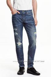 H&M. Мужские джинсы с потертостями. Размер 33