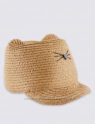M&S. Соломенная кепочка с ушками котик