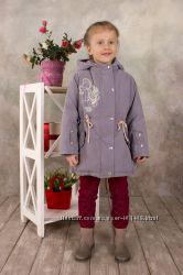Курточка демисезонная для девочки с капюшоном серый 03-00552-1