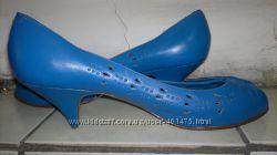 ярко-голубые бразильские кожаные туфли