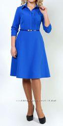 Платье с карманами синее