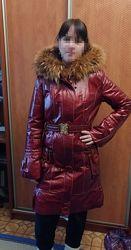 Дубленка пальто кожаное мех цегейка енот