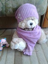 Комплект шапка и шарфик вязанный на девочку 3-6 лет, шапочка.