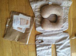 Накидка в автокреслр льняная и дорожная подушка