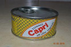 Вкусный и полезный тунец в оливковом масле, Capri Италия, жб 160грамм