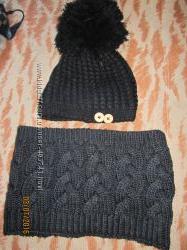 Набор шапка и хомут зимние