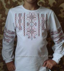 Блузка-вышиванка мягкий трикотаж для девочки ТМ Фламинго