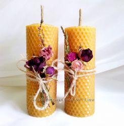 свеча катаная из воска восковые свечи фитосвечи ручной работы отп розница