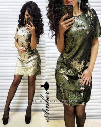 Акция Платье из паеток перевертыш Реальные фото