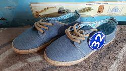Мокасины LC Waikiki джинсовые с джутовой отделкой р.32 20,5 см. стелька