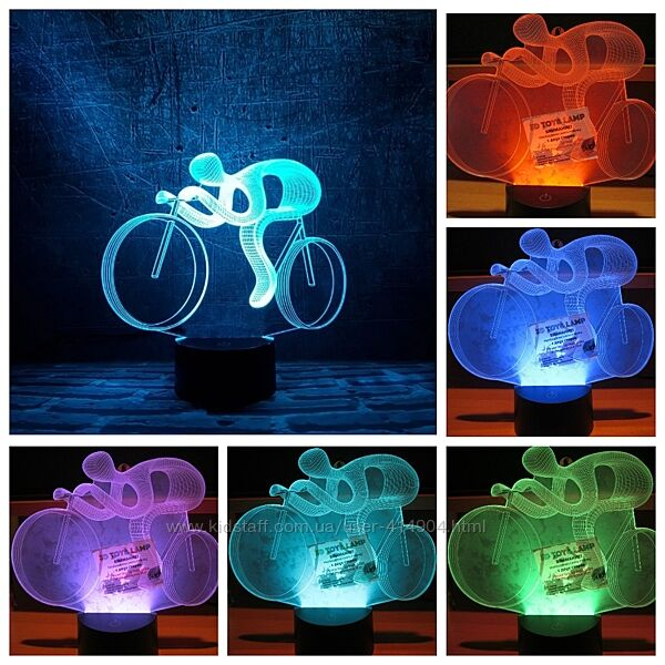 3D светильник-ночник Велосипед  для детей и взрослых