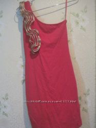 Красивое трикотажное платье по фигуре ярко-красного цвета размер XS