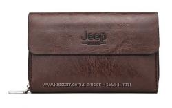 Коричневый мужской кожаный клатч Jeep в наличии