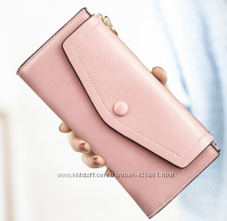 Розовый пудра кожаный кошелек  в наличии