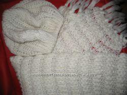 Теплые комплекты  шапка кепка и шарф снуд