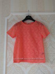 Размер 8 Шикарная фирменная хлопковая полностью кружевная блузка