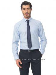 Голубая мужская рубашка Lc Waikiki  ЛС Вайкики в тонкую голубую полоску