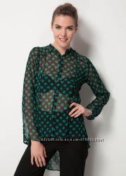 черная женская блузка MA&GI в зеленые рисунки