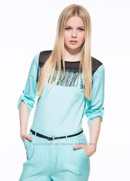 голубая женская блузка MA&GI с бахромой