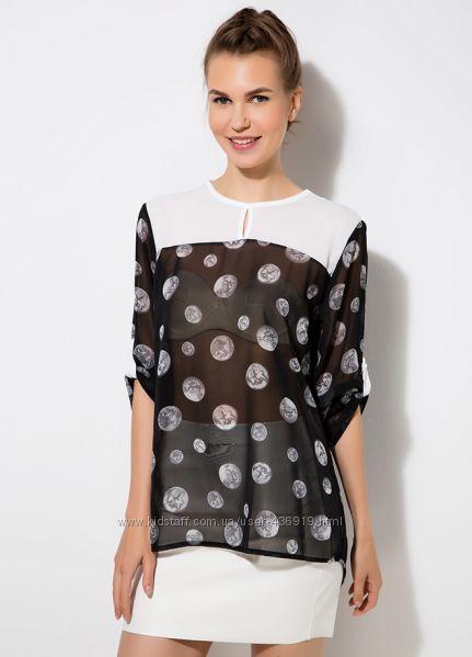 черная женская блузка MA&GI в серый горошек