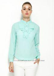 голубая женская блузка MA&GI с бантиками