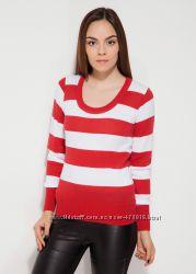 красная женская блузка MA&GI в белую полоску