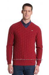 Бордовый свитер U. S. Polo Assn с V- образным вырезом и узором. р. S