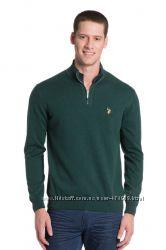 Мужской свитер зеленый U. S. Polo Assn. с воротником-стойкой. Оригинал. р.