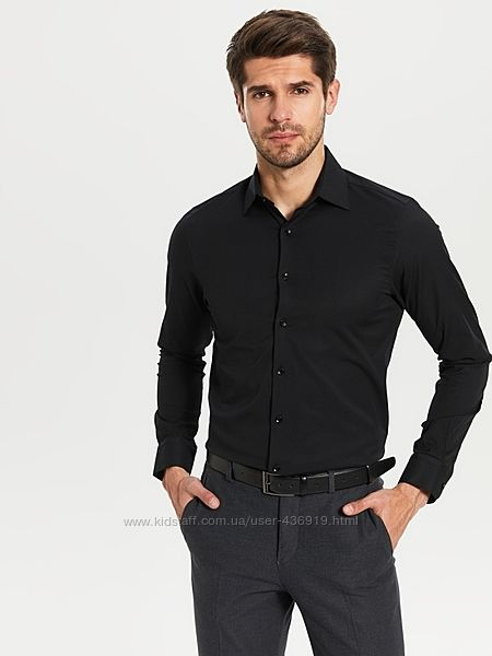 Черная мужская рубашка LC Waikiki / ЛС Вайкики на черных пуговицах