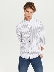 Белая мужская рубашка LC Waikiki  воротник-стойка, в синюю полоску