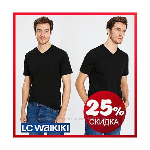 Мужская футболка черная LC Waikiki / ЛС Вайкики с V-образным вырезом