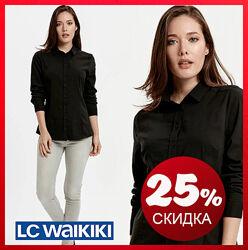 Черная женская рубашка LC Waikiki / ЛС Вайкики на черных пуговицах