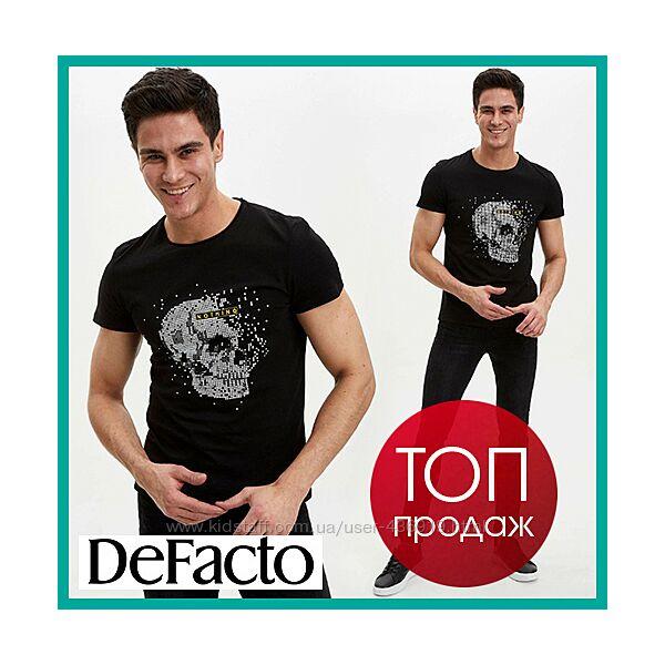 Черная мужская футболка Defacto / Дефакто с черепом на груди Nothing