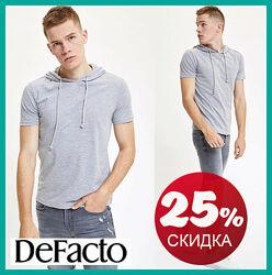 Серая мужская футболка Defacto / Дефакто с капюшоном