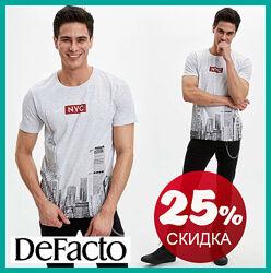 Серая мужская футболка Defacto / Дефакто с принтом NYC