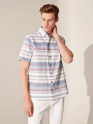 Белая мужская рубашка LC Waikiki/ЛС Вайкики в серо-красно-голубую полоску