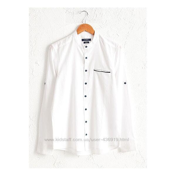 Белая мужская рубашка LC Waikiki/ЛС Вайкики воротник-стойка, карман
