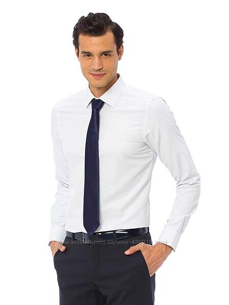 Белая мужская рубашка LC Waikiki/ЛС Вайкики с мелким синим принтом
