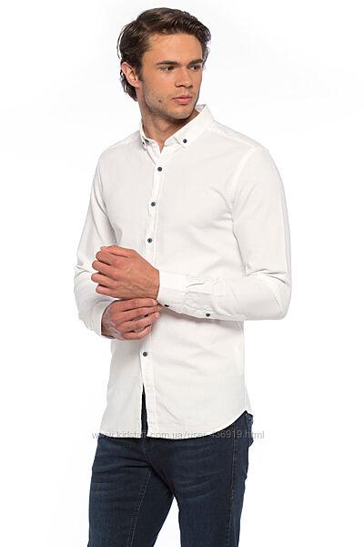 Белая мужская рубашка LC Waikiki/ЛС Вайкики с темно-синими пуговицами